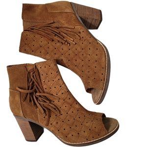 Toms Leather Majorca Fringe Peep Toe Booties 6.5